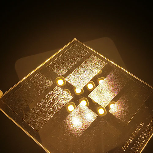 Image of Luximprint Frosted Finishes sample for use in the Sample Shop in front of LED grid