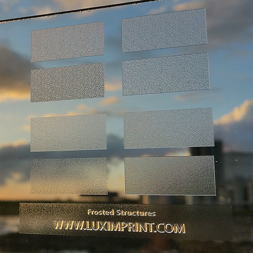 Image of handheld Luximprint Frosted Finishes sample for use in the Sample Shop during winter day