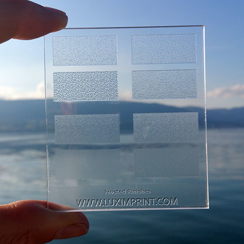 Image of handheld Luximprint Frosted Finishes sample for use in the Sample Shop near lake Neuchatel