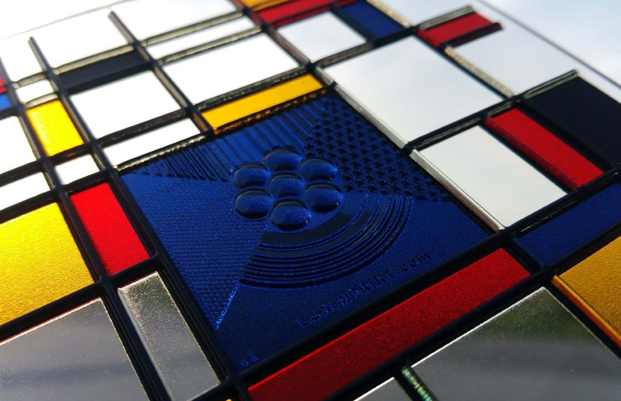 Image of Colorful Mondrian Style Impressionist artwork demonstrating Luximprint optical 3D printing and masking capabilities.